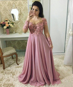 2020 Dusty Pink Mother Of The Bride Dresses Jewel Neck Illusion Long Sleeves Lace Appliques Flowers Chiffon Party Evening Wedding Guest Gown