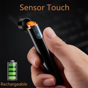 Hot USB Feuerzeug Mini-USB-Touch-sensitiv Schalter Zigarettenanzünder Winddichtes Flameless aufladbare elektronische Feuerzeug für Raucher