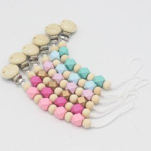 2020 New Baby Pacifier chaîne Clip de perles en bois clip Chew Pacifier Clips Porte-Nichon Teether Anti-Chute Pacifier Corde / Chian
