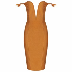 2018 new sexy dress wholesale mustard off shoulder deep plunge bandage dress dropshipping Dress + suit