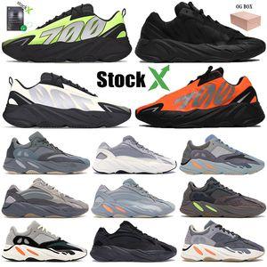 2020 Yeni Kanye Koşu Ayakkabı Erkek Kadın 700 Eğitmenler Fosfor Kemik ayakkabı tasarımcısı Turuncu Tie-boya Üçlü Siyah teal mavi Sneakers 36-46