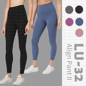 pantalones de yoga LU-32 del desgaste muchachas de las mujeres de cintura alta gimnasia de los deportes sólido elástico Leggings estado físico general completa medias pantalones de entrenamiento pantalones LU yogaworld