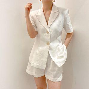 Trajes de mujer Blazers Hzirip Solid Blazer Traje Ropa mujer 2021 Verano elegante Vintage Chaqueta Casual + Pantalones cortos Juegos de 2 piezas