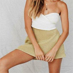 Spring Summer Sexy Casual Female Golden Mini Skirt Women Elegant Sequined Mini A-Line Skirt Lady Skinny High Waist Skirts