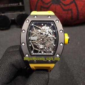M migliore versione rm 035 Gold e ceramica Black Ceramics Case Skeleton Dial Miyota Automatic RM035 Mens Guarda cinturino in gomma Sport Orologi di lusso