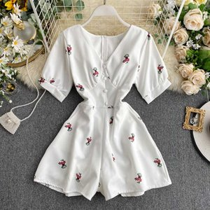 Rompers Womens Jumpsuit Shorts 2020 New Summer Fashion Printed Short Sleeve Slim Casual Overall Female White Bodysuit Korean