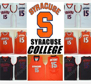 HOT SIRACUSA COLLEGE NCAA bordado costurado Swingman jerseys Jersey 15 ANTHONY CAMISAS barato por atacado de presente de aniversário HOT VENDA RETRO