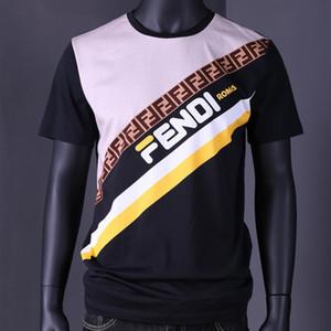 T-shirt pour hommes, coton mercerisé, mode, lettres couleur, impression été essentiel à manches courtes