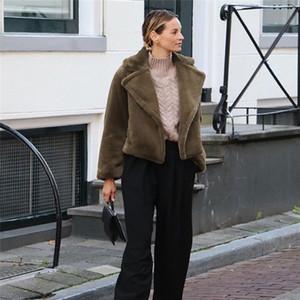 Designer Womens Faux Fur Fashion Herbst Winter warme Kleidung Casual Short Plüsch Mäntel