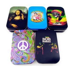 Metallo Tabacco Contenitore Bob Marley della scatola per il lavaggio a Herb Multi-Use d'umidità fumatori Stash Jar Tin caso Vial per lo stoccaggio delle merci