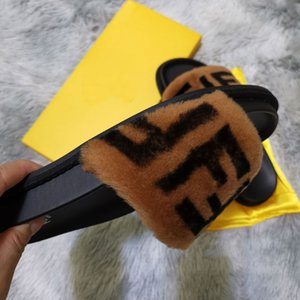 2019 en fourrure de renard réel Chaussons Slides Chaussures Furry Fuffly Slipper Tongs Sandales Sliders Sandales Chaussures d'été Faire glisser les femmes