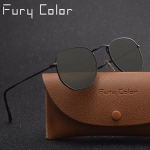 Реальные стеклянные линзы металлические шестиугольные солнцезащитные очки мужчины womne hot HD ретро круглые солнцезащитные очки роскошные очки gafas Oculos de sol 3548
