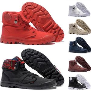 وصول جديد البلاديوم Pallabrouse الكاحل أحذية للرجال النساء حمراء قماش حذاء رياضة عرضي الجيش رجل أحذية الأخضر السماء الزرقاء المدرب 36-45
