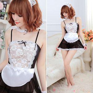 La venta de la ropa interior caliente Siervo ventas al por mayor atractivo Negro Blanco Delantal francés de la criada Uniforme de vestido lolita Traje
