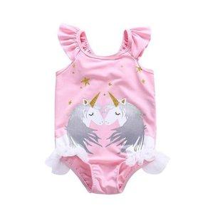 2019 niñas niños unicornio negro blanco 2 unids traje de baño sombrero + traje de baño de una pieza de encaje volantes mangas unicornio
