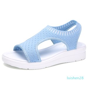 Hot Sale-Sommer-Frauen-Sandelholz-Plus-Größe 35-45 Keil Breathableemale Peep Toe Damen Feste Slip-on Bequeme Schuhe Damen l28