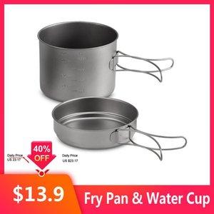 1100ML / 1600ML Titanium Горшок Pan Set воды Кубок Кружка Titanium Cup Повесьте Пот Суперлегкий вес Кемпинг Набор посуды складной ручкой
