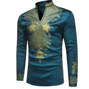 New Mens Designer Shirts Green Printed Men V Neck T-shirt Long Sleeved Casual T-shirt Free Shipping