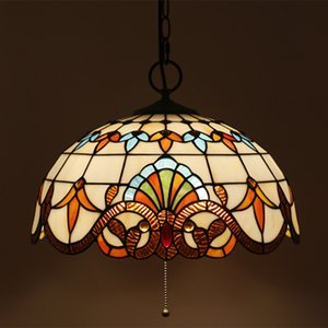 16 Inch European Vintage Baroque Stained Glass Pendant Lamp Creative Bedroom Livingroom Light Restaurant Bar Stairs Chandelier Light Fixture