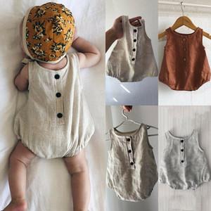 Été nouveau-né bébé fille Vêtements garçon Cottonlinen Romper Tenues Set Bodysuit