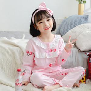 Çocuklar Prenses Retro Sleepwear için Şirin Yeni Sonbahar Kız Pijama Takımı Çocuk Ev Kumaş Kız Pijama Pamuk Uzun Kollu Dantel
