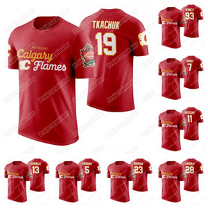 Calgary Flames 2019 Heritage Классический T-Shirt Мэтью Ткачук Шон Монахан Сэм Bennett Джонни Гудро Микаэл Backlund Лэнни Макдональд Джерси