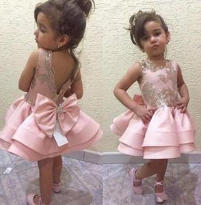 Старинные милые платья для девочек-цветочниц без рукавов с кружевными аппликациями и бантами Свадебная вечеринка Короткие детские платья на день рождения Маленькие девочки конкурсное платье