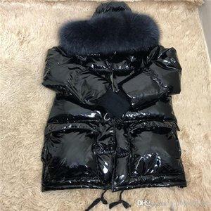 أزياء شتاء جديد الراكون مقنعين الفراء طوق براءات الاختراع والجلود لامعة سيدة الجلد أسفل حجم سترة S-XL