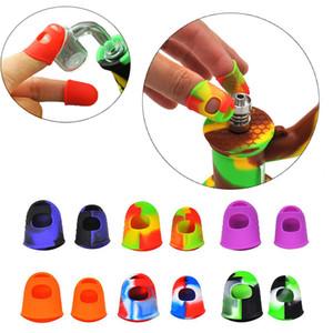 Par de silicona resistente al calor Finger cubierta resistente al calor Guantes de aislamiento térmico Finger NC herramienta del kit del Cera de petróleo plataformas Dab Accesorios de humo