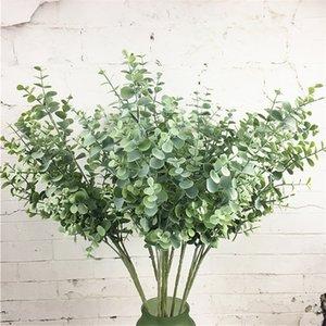인공 플라스틱 유칼립투스 나뭇 가지 크리스마스 웨딩 장식 꽃꽂이 작은 잎 식물 가짜 단풍