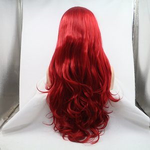 Aohai natural lace front wig with red full end heat resistent fiber 24 inches long cheap synthetic hair replacement