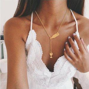 Modyle Trendy Women Jewelry Cute Wine glass Wine bottle Necklace Gold Choker Necklace Pendant On Neck Accessories