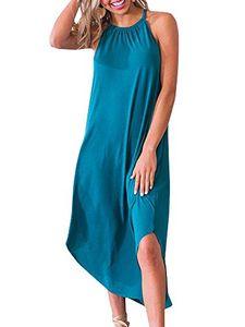 Beautife Womens Summer Summer Halter Maxi Dress Casual Loose Fit Plain Robes Longues