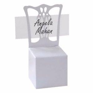Продвижение белый стул место держателя карты и коробка благосклонности лучше всего для коробок конфет и свадебных подарков 100 шт.