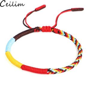 Nouveau multi couleur bouddhiste tibétain noeud Bracelets Bonne chance corde rouge Charm Bracelets Tressé Femmes Hommes