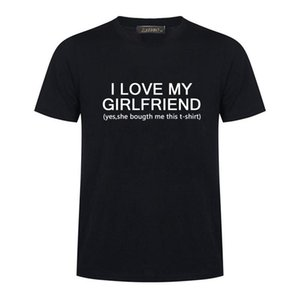 I Love My Girlfriend Letter Tasarım Baskı Tişört Yeni Moda Harajuku Tişörtlü Erkekler Kısa Kollu Erkek Giyim Tops
