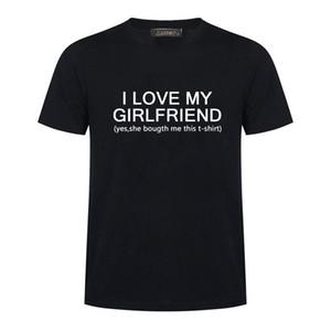 I Love My Girlfriend Letter Дизайн печати T-Shirt Новая мода Harajuku Футболка Мужчины с коротким рукавом Топы Мужская одежда
