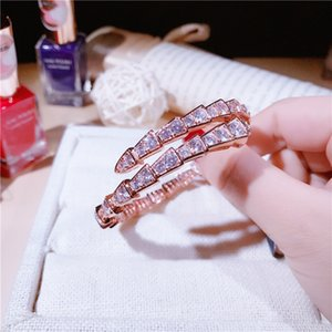 Nueva marca europea y americana con electrochapado de oro real con incrustaciones de diamantes de imitación pulsera pulsera personalidad de la serpiente pulsera de joyería de lujo