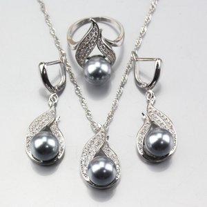 ewelry Accessoires 11.11 Hot vente 925 Gris Argent perle naturelle Parures Boucles d'oreilles collier pendentif anneau pour les femmes ... se costumer