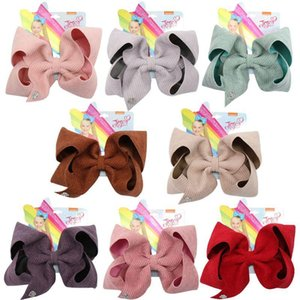 8pcs Lot 7'' Jojo Bows Jojo Siwa Large Hair Bows For Girls Hair Clips Solid Corduroy Hairpin Party Kids Hair Accessories