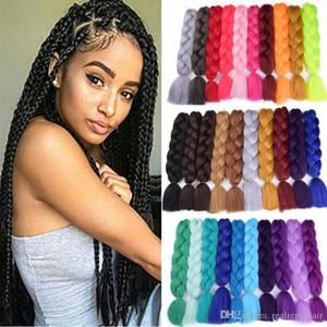 24-дюймовый Jumbo Kanekalon плетение волос 5шт волос Nature Pure Color Высокая температура Синтетические плетение волос