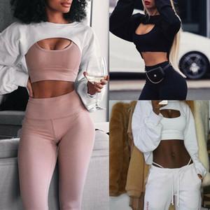 Kısa Tişörtü Kadınlar Sonbahar Uzun Kollu Siyah Beyaz Kazak Moda Crop Top Ceket Jumper Kazak Clubwear Tops