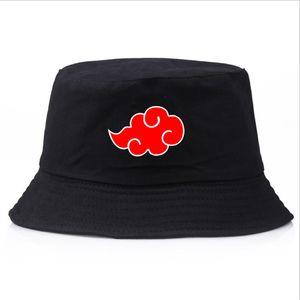 2020 Naruto Akatsuki Kırmızı Bulut baskı Yaz şapka kadın erkek Panama kova kap tasarımı düz siperliği balıkçı şapka