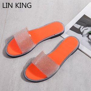 LIN KING grande formato Pantofole donna Moda strass Estate Appartamenti Slides Scarpe Donna esterna signore Outdoor pistoni della spiaggia