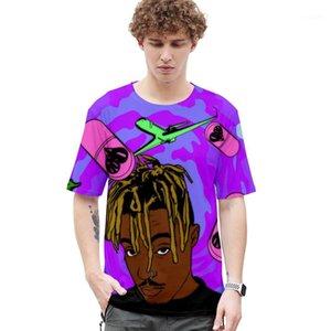 Cuello diseñador para hombre Tops Casual suelta hombre camisetas jugo Wrld 3D hombres camisetas verano manga corta O