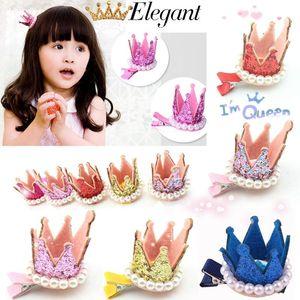 New Kids Girls Xmas Dacing Party Hair Clips Crown Pearl Princess Barrette Ribbon