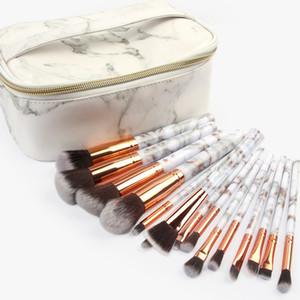 Maquillage de marbre Pinceaux Fond de teint poudre Ombre à paupières Sourcils Cils Maquillage- Pinceau Kits Outils avec sac de maquillage 15pcs / set RRA858
