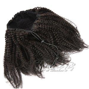المنغولي اللون الطبيعي مجعد 4A 4B 4C 8-20 بوصة 120G ذيل الحصان 100٪ غير المجهزة ذيل العذراء الإنسان الشعر التمديد