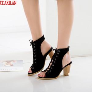 CDAXILAN novo para mulheres sandálias faux camurça tecido rodada heeld saltos altos cruzadas sandálias correia pescador sapatas das senhoras verão