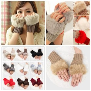 Women Girl Knitted Faux Rabbit Fur Gloves Mittens Winter Arm Length Warmer Outdoor Fingerless Gloves Colorful Christmas Gifts
